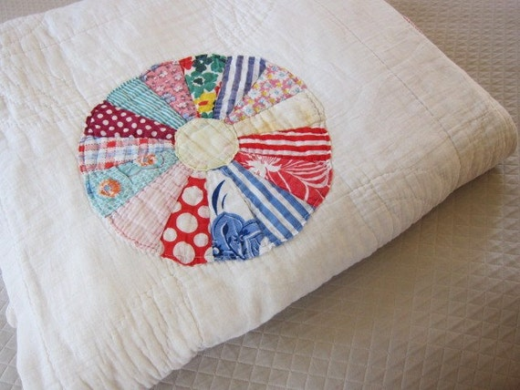 RESERVED for  LINDA 1930s quilt Dresden Plate colorful feedsacks