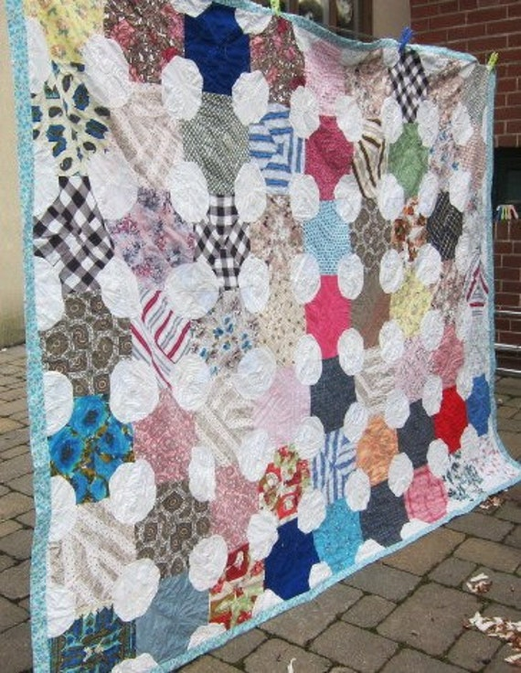 Snowball vintage quilt 1940s 50s bright and scrappy