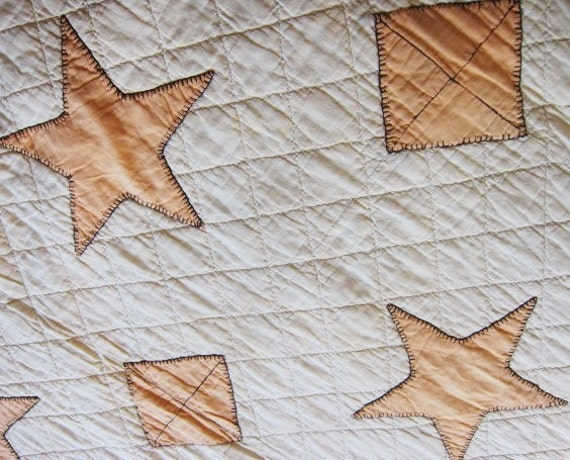 Antique quilt  5 pointed star applique   1920s  RARE primitive