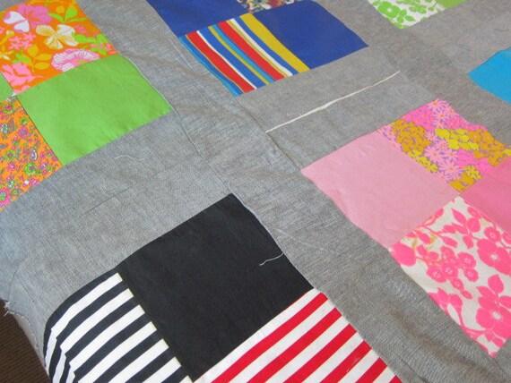vintage quilt top 1960s,  funky patchwork,  60s decor, unfinished quilt , unfinished quilt, boho  bedcover, festival decor