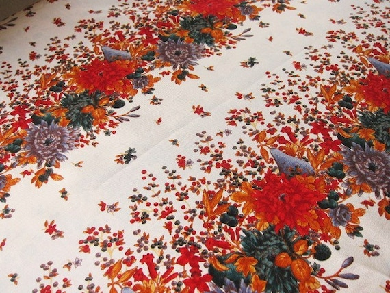 RESERVED for FRAN Vintage dressmaking silk autumn fruits fall colors