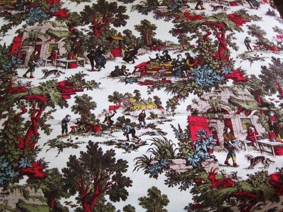 Vintage drapes FOLKLORIC  print make believe village pair or fabric