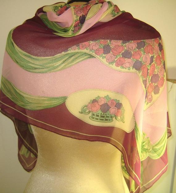 flowing large vintage silk chiffon scarf bob mackie