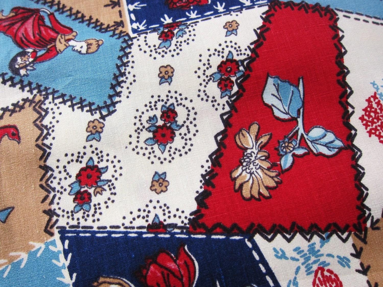 Crazy Quilt Pattern Fabric : Vintage fabric CRAZY QUILT quilt cotton 5 yards