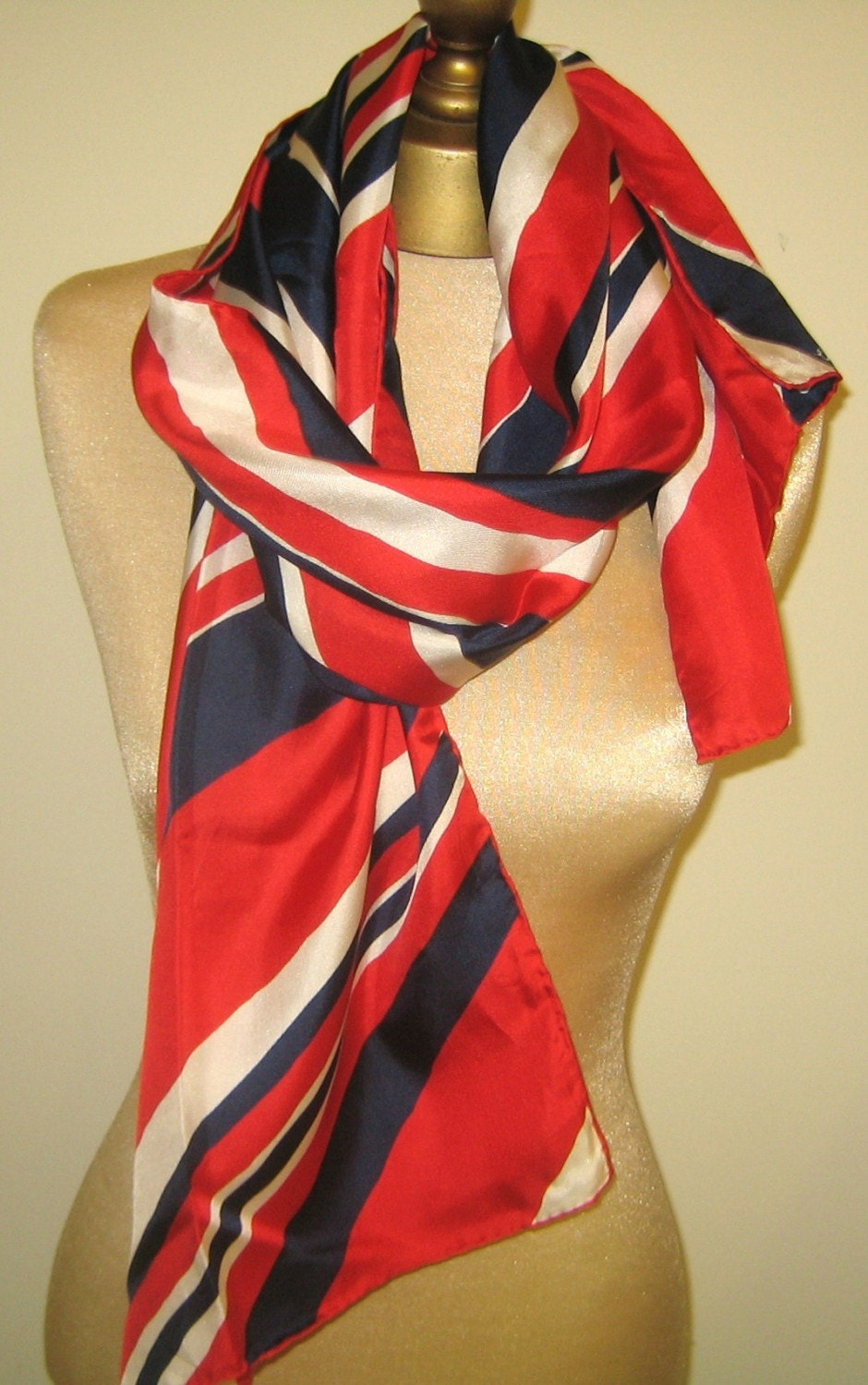 Red White And Blue Vintage Silk Scarf 70s