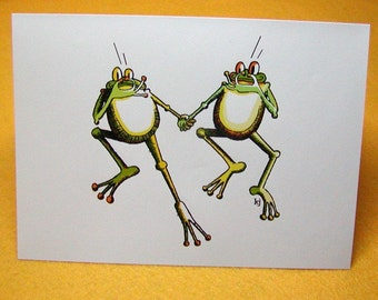 Taking the Plunge Frogs Blank Greeting Card w/ Astro Bright Envelope