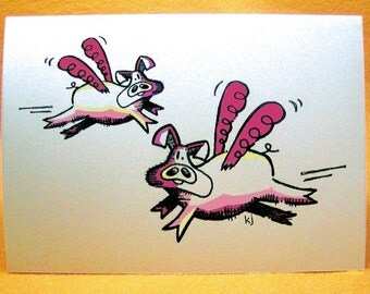 Flying Pigs Blank Greeting Card w/ Astro Bright Envelope