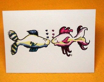 Sole Mates Fish Blank Greeting Card w/ Astro Bright Envelope
