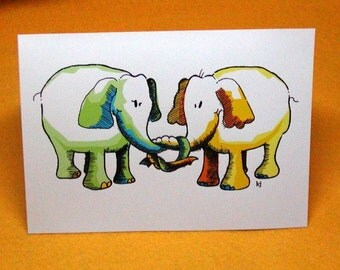 Elephant Love Blank Greeting Card w/ Astro Bright Envelope