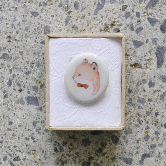 Porcelain Squirrel Brooch