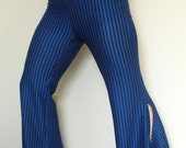 Cobalt Blue and Black Striped Flamenco Flares