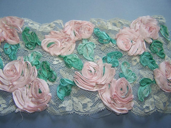 Field of Pink Roses and Lace Trim