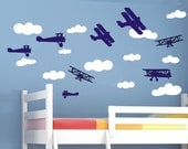 wall sticker decal set airplanes biplanes with clouds bedroom wall decor theme