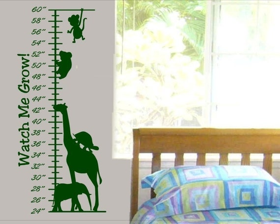 Kids Growth Chart wall decal sticker with monkey giraffe and more