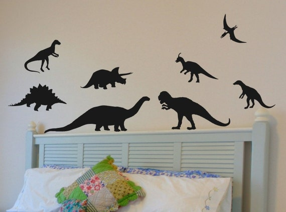 Items similar to wall decals dinosaur set of 8 kids room for Dinosaur wall decals for kids rooms