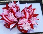 Be My Valentine - Stacked Boutique Valentine  Bow. Bowchicks.