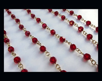 Swarovski Rosary Crystal Chain Siam - 5mm Round Beads - Gold Plated - 8.00 per foot