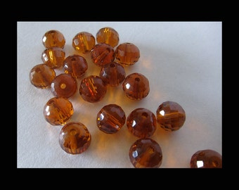 Topaz Crystal Micro-Faceted Round Beads - 8x6mm - (36)