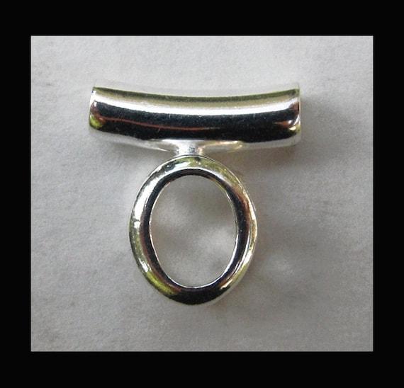 Sterling Silver Oval Tube Pendant Setting - Back Set - 8x6 mm