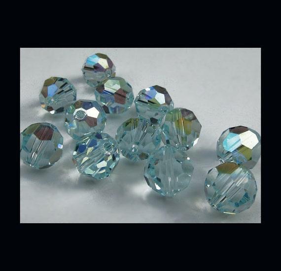 Swarovski Crystal Round Beads 8mm Article 5000 -  Light Azore AB - (12)