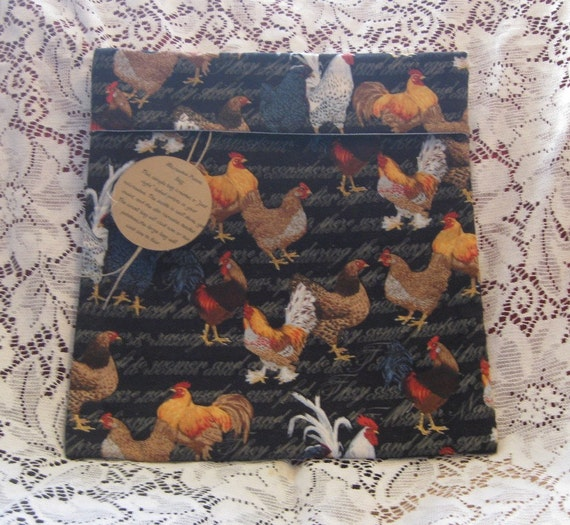 Microwave Potato Bag with chickens & roosters on a black background