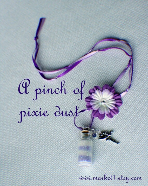 Purple Tinkerbell Pixie Dust Necklace, Fairy Dust