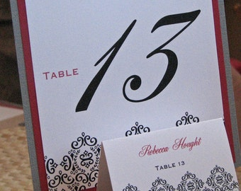 Damask Table Number and Place Card