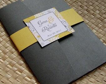 Pocketfold Wedding Invitation in Grey and Yellow, Party Invitation, Yellow and Grey Flower Invitation