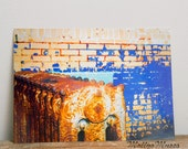 Industrial Photograph, Abstract Art, Old Gas Station, Brick Wall, Graffiti, Boys Room, Home Decor, Abandoned Building, Blue, Yellow, Gold