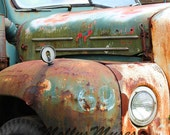 Old Mack Truck Art Photograph, Rust Brown with Turquoise Green Decor, Garage Art Decor, Americana Photo , Home Decor, Square Wall Art Print