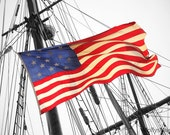 American Flag on Tall Sails Ship Photograph, Nautical Home Decor Print, Patriotic Red white Blue, USA Old World Decor,