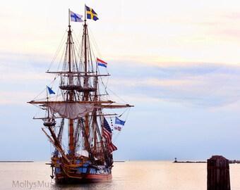 Nautical Photo Print, Old World Tall Sails Ship Photo, Nautical Wall Print Decor, Kalmar Nykel Ship, Seascape Photo, Rose  Serenity Blue