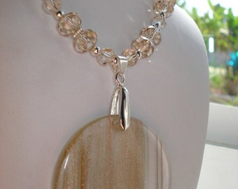 Shimmering Sands Beaded Crystal Pendant Necklace and Earring Set