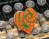 Green and Orange Swirl Heart Painted Wood Pin
