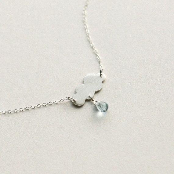 Storm - Sterling / Blue Topaz Cloud Necklace