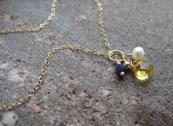 Eve - Gold / Pearl / Lapis / Citrine Gemstone Necklace