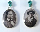 Double Sided Resin Photo Art Pendant of Wild Bill Hickok and Calamity Jane