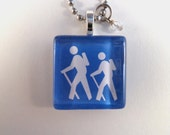 Hikers Hiking Glass Tile Photo Art Pendant