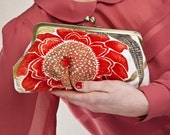 LAST ONE - Fiery red and gold poppy Lili clutch