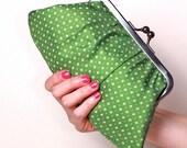 Green dots Fifi clutch-LAST ONE