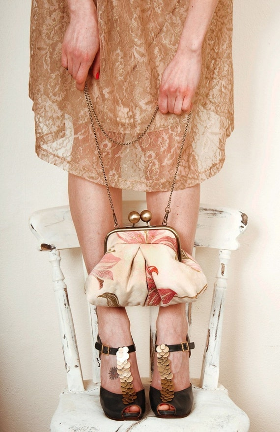 Pink flowers---luxury jacquard medium clutch bag---internal pocket