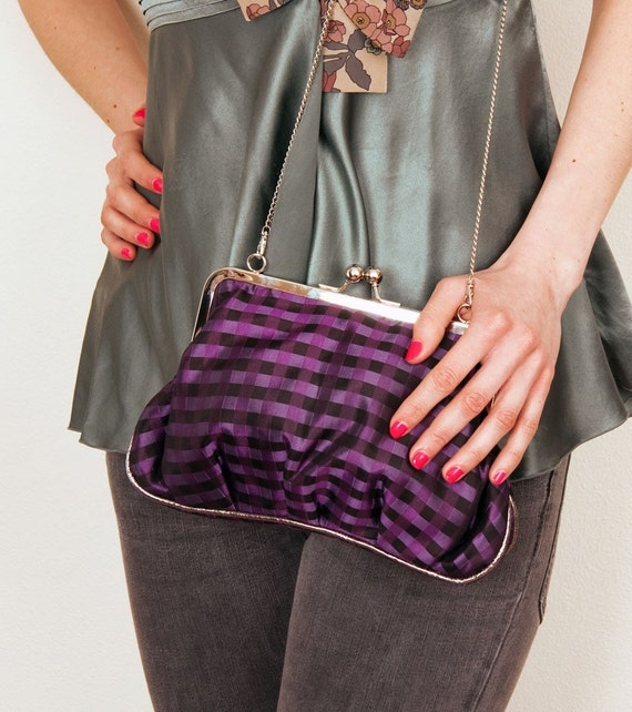 Deep Purple Ambrosia handbag - 2 internal pockets - Last one - Silk bag - Black - Purple - Casual - Modern style - France