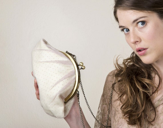 Vanilla cream Lizzy clutch bag with chain strap-RESERVED FOR DANIELLEBORG