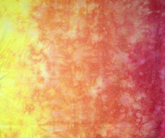 Gradient Hand Dyed Fabric Pale Yellow to Pink