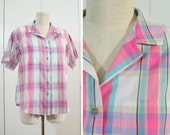 1980s vintage pastel plaid button front blouse S/M