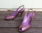 size 8.5 1980s vintage mauve leather peeptoe heels 38.5