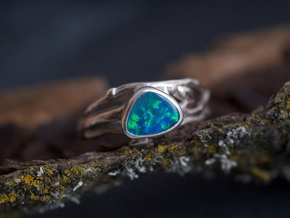 Woodland Glow fire opal branch ring