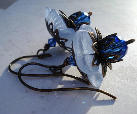 Earrings Filigree Lotus Blossom Blue - SALE