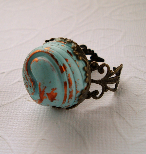Ring Vintage Acrylic Copper Turquoise Domed Swirled Cabochon Brass Adjustable