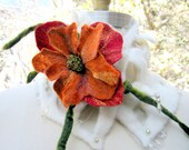SALE Felted WRAP/ SCARF/ Neck warmer / Cowl  with felted flower, lace lining and pearls